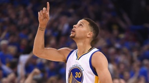 OAKLAND, CA - APRIL 13:  Stephen Curry #30 of the Golden State Warriors gestures in the first half against the Memphis Grizzlies during the game at ORACLE Arena on April 13, 2016 in Oakland, California.  (Photo by Thearon W. Henderson/Getty Images)