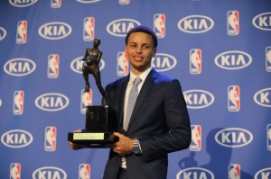 May 4, 2015; Oakland, CA, USA; Golden State Warriors guard Stephen Curry with the 2014-2015 NBA Most Valuable Player trophy at the Oakland Convention Center. Mandatory Credit: Kelley L Cox-USA TODAY Sports