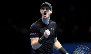 Andy Murray celebrates in his match against Milos Raonic during day seven of the Barclays ATP World Tour Finals at The O2, London. PRESS ASSOCIATION Photo. Picture date: Saturday November 19, 2016. See PA story TENNIS London. Photo credit should read: Adam Davy/PA Wire. RESTRICTIONS: Editorial use only, No commercial use without prior permission