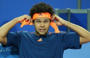 MONTPELLIER, FRANCE - FEBRUARY 11: Jo-Wilfried Tsonga of France looks on during day 6 of the Open Sud de France, an ATP Tour 250 tournament at Arena Montpellier on February 11, 2017 in Montpellier, France. (Photo by Jean Catuffe/Getty Images)
